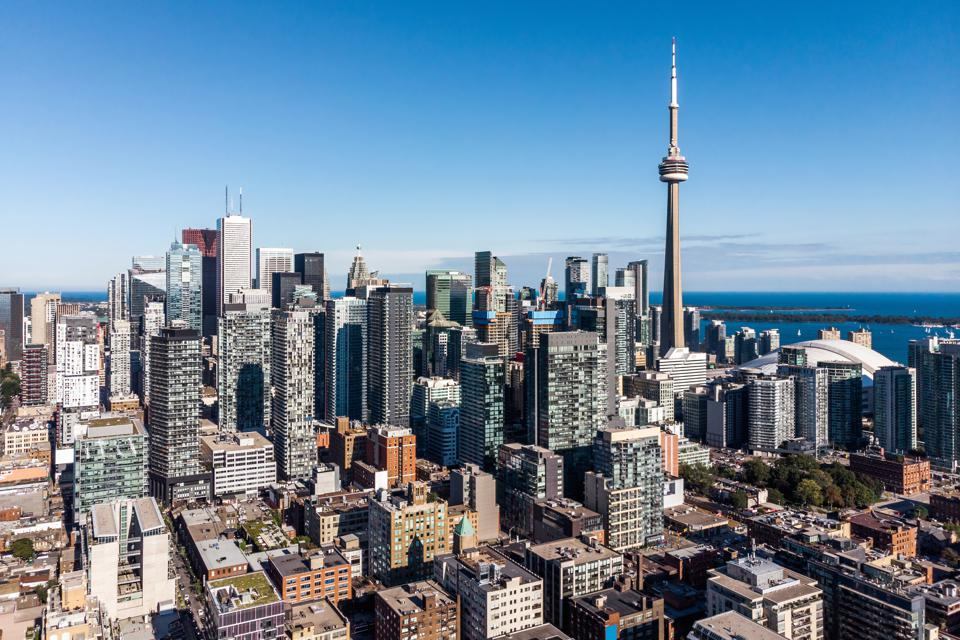 Aerial View of Downtown Toronto on a Sunny Day, Ontario, Canada