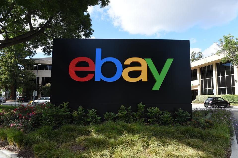 Ebay logo on a sign at headquarters