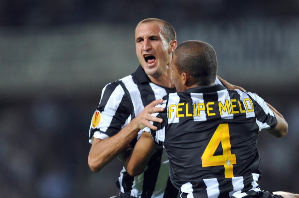 Giorgio Chiellini dan Felipe Melo saat masih bermain bersama di Juventus