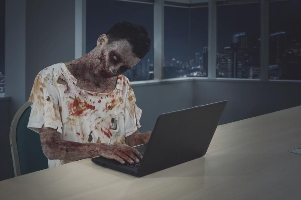 Male zombie working until night