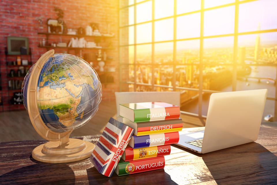 Languages learning and translate, communication and travel concept