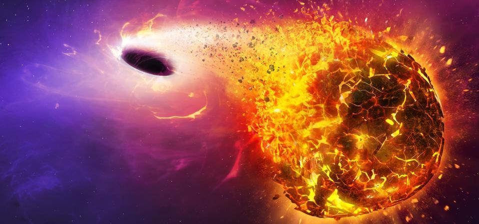 Black hole destroying the planet, illustration