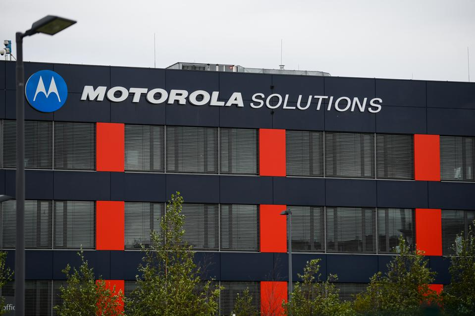 Motorola Solutions sign is seen at Czerwone Maki. Krakow is...