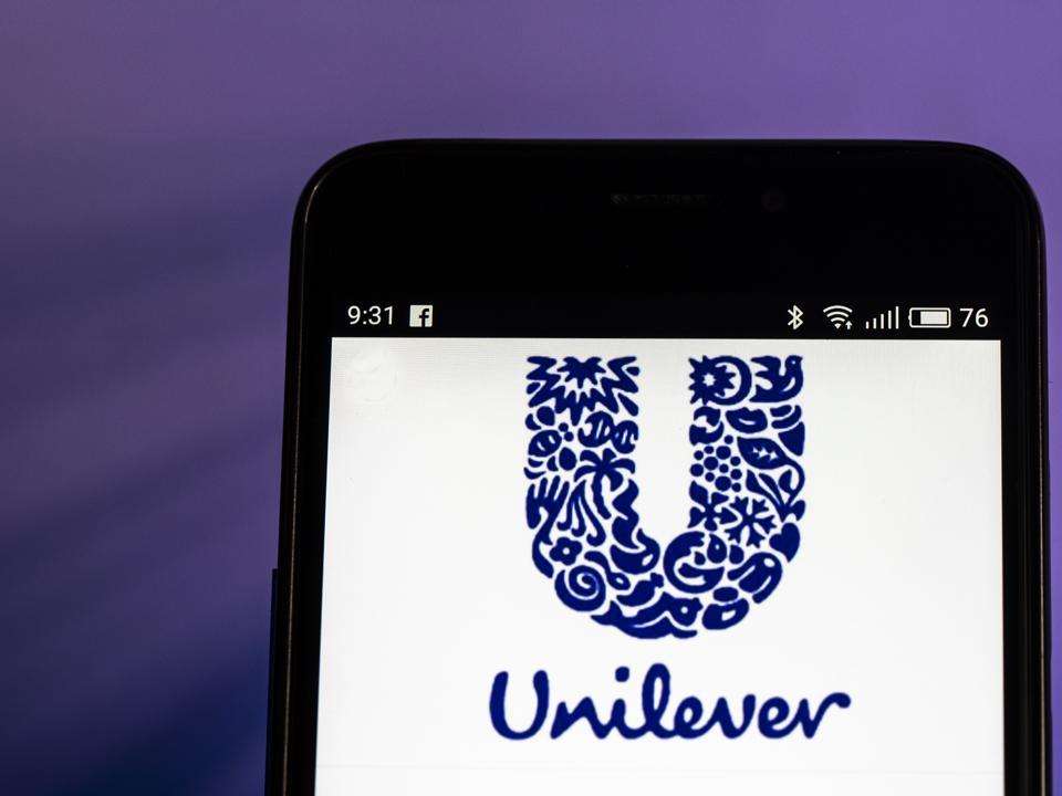 Unilever logo seen displayed on smart phone.