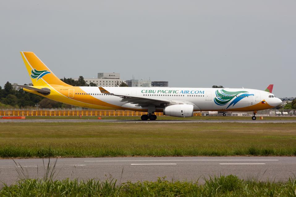 Cebu Pacific Air Airbus 330-300 seen leaving Tokyo Narita...