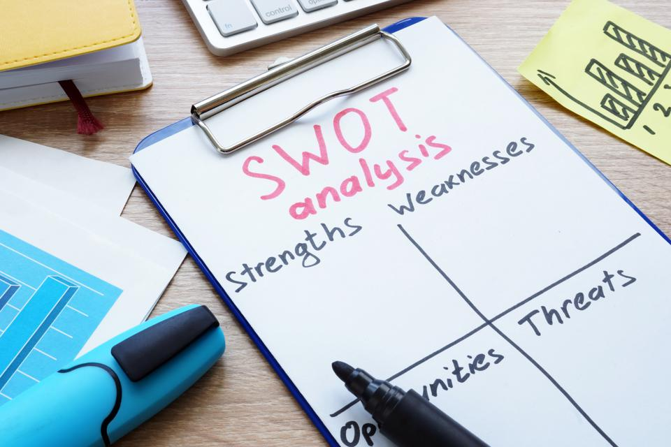 SWOT analysis form and clipboard on a desk.