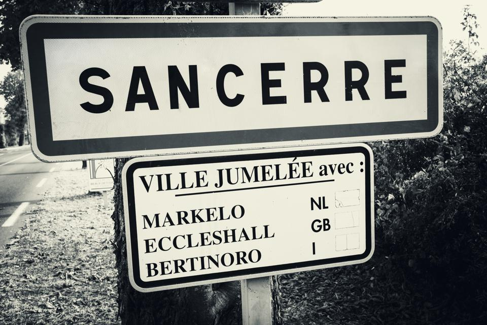 Sancerre village road sign, Loire Valley, France