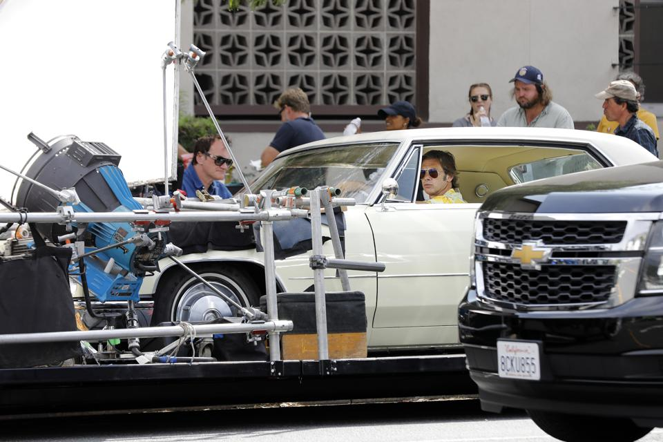 Quentin Tarantino, Brad Pitt And Margaret Qualley Filming Once Upon A Time In Hollywood