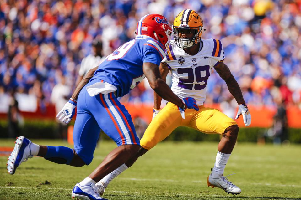 LSU cornerback Greedy Williams defending Florida receiver Tyrie Cleveland on October 6.