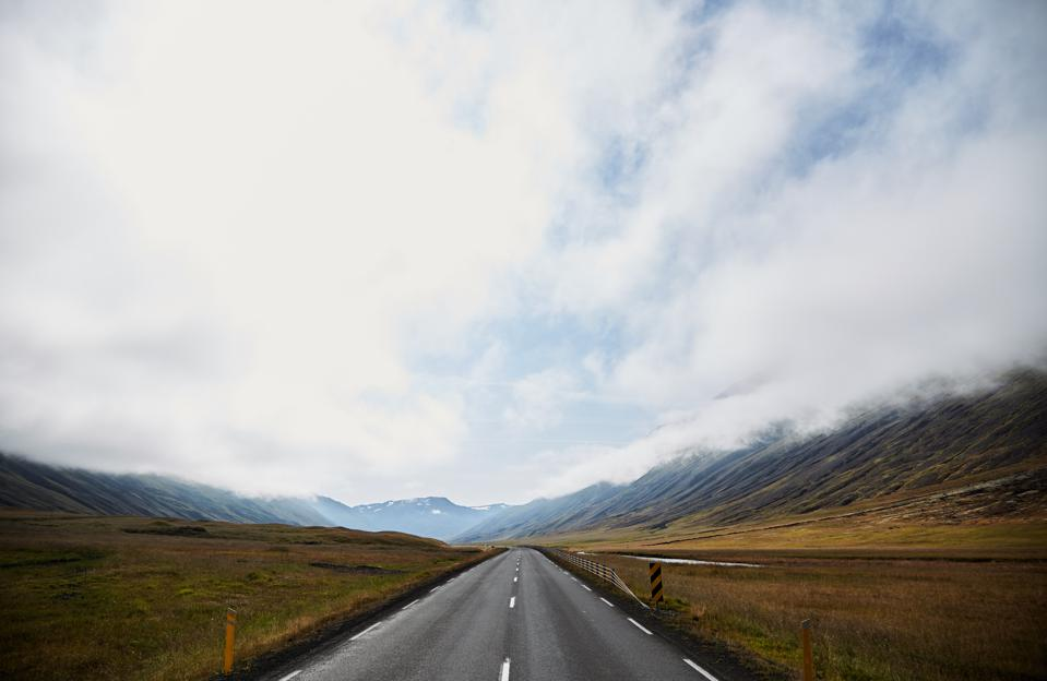 Road to infinity in Iceland. The road to the horizon