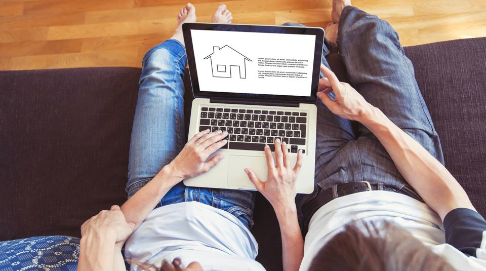 amily couple choosing new home online, search real estate