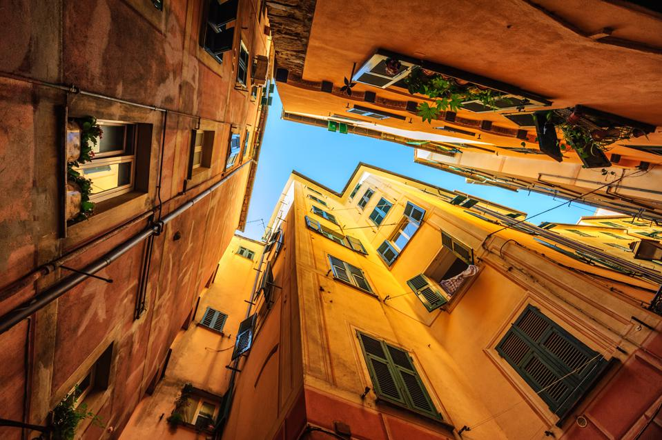 Traditional yellow houses in Genoa