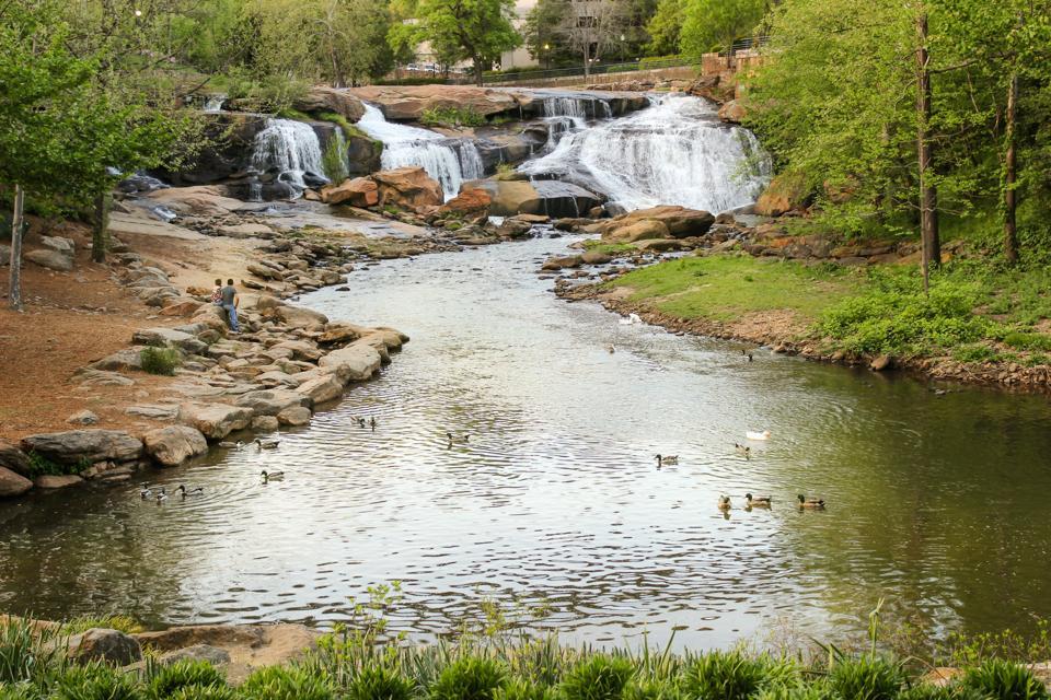 Greenville South Carolina falls park waterfall golden hour