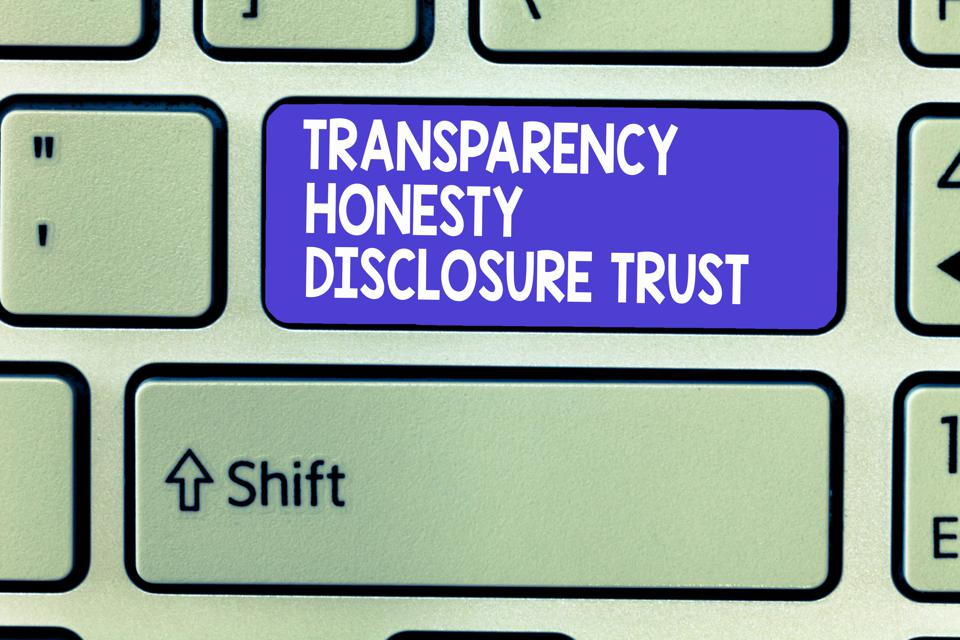 Word writing text Transparency Honesty Disclosure Trust. Business concept for Political Agenda Corporate Will