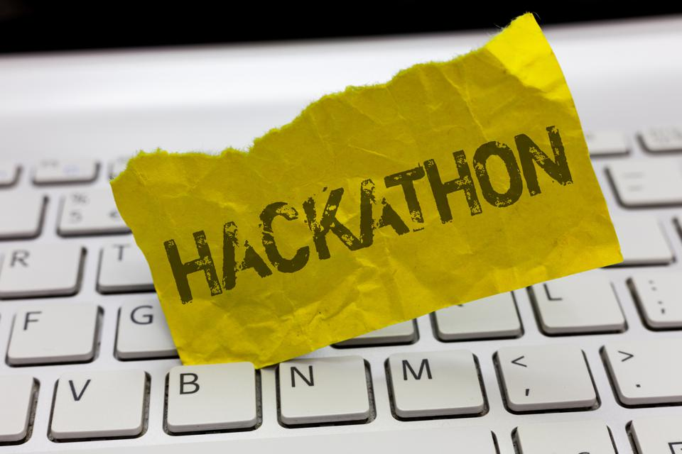 Text sign showing Hackathon. Conceptual photo event where large number of showing engage in programming
