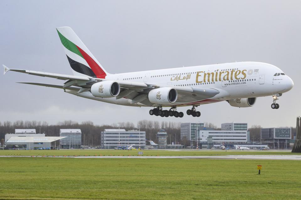 Emirates Airbus A380 landing