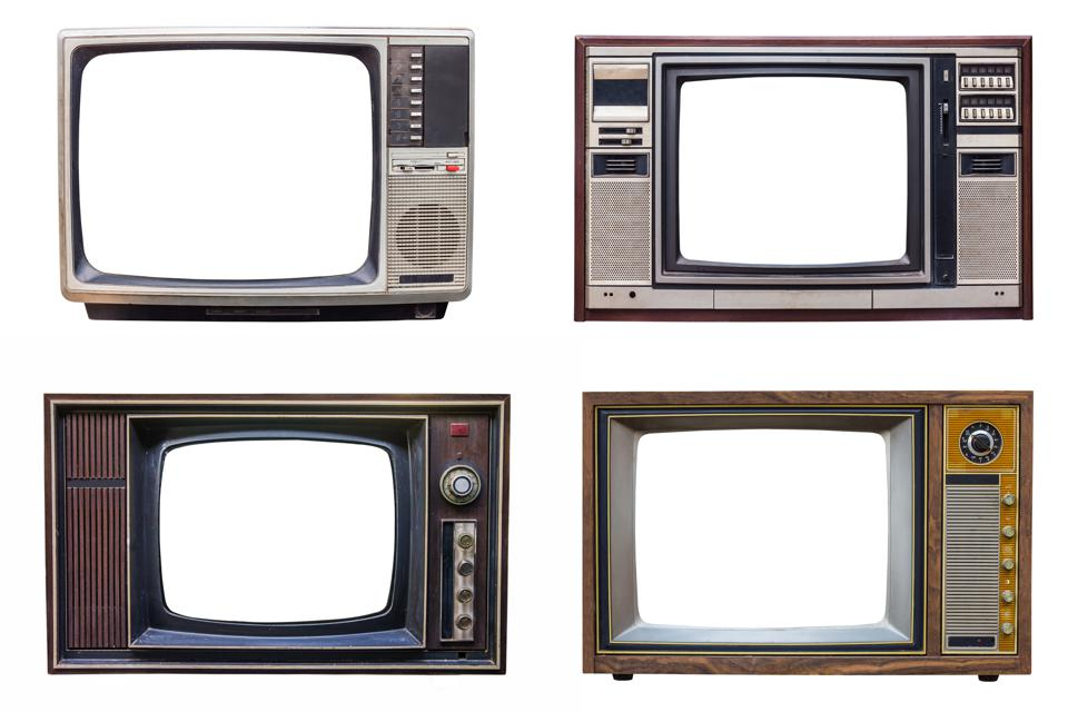 set of classic vintage retro style old television with cut screen, old tv isolated on white background