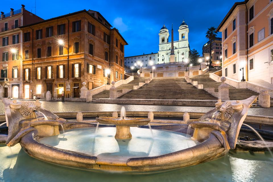 Italy, Rome, Spanish Steps, Barcaccia Fountain (Dusk)