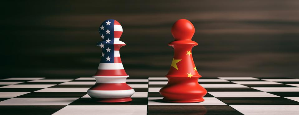USA and China flags on chess pawns on a chessboard. 3d illustration