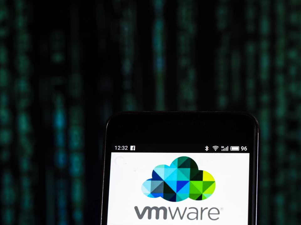 VMware Computer software company logo seen displayed on