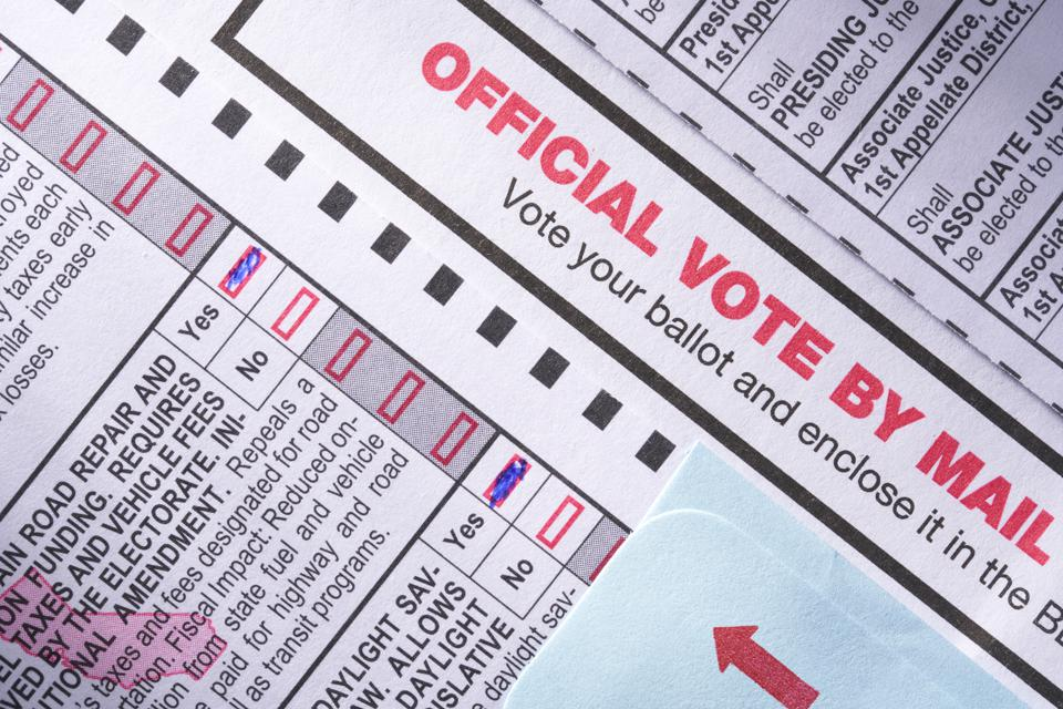 Voting ballot: Absentee voting by mail with candidates and measures