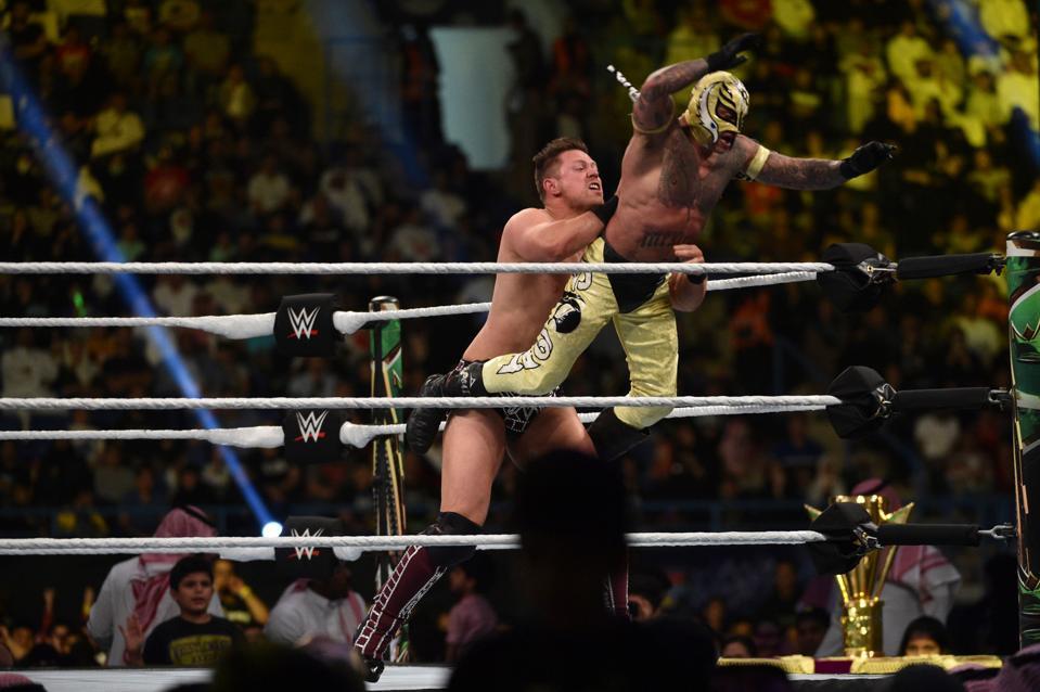 WWE star The Miz catches Rey Mysterio