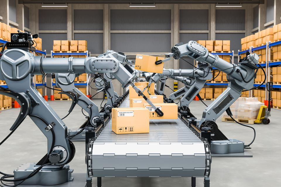 Automatic warehouse with robotic arms, 3D rendering