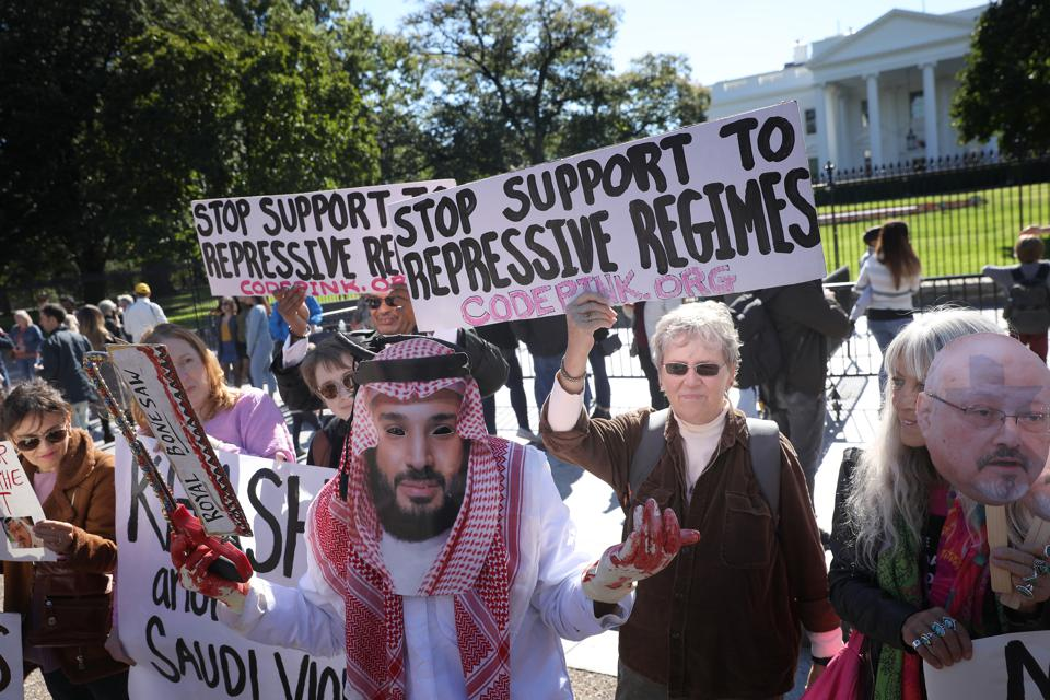 Activists March From White House To State Dep't To Protest Khashoggi Murder