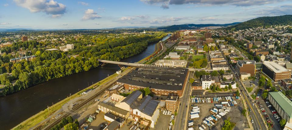 The panoramic aerial view of Bethlehem - the city in Pennsylvania, in Appalachian mountains on the Lehigh River