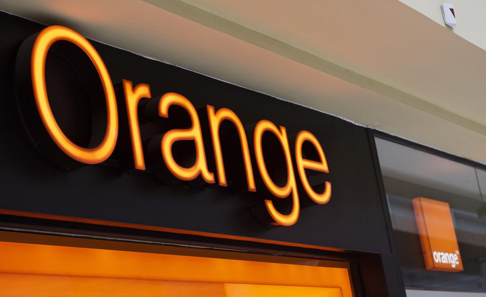 French multinational telecommunications compnay Orange logo on storefront