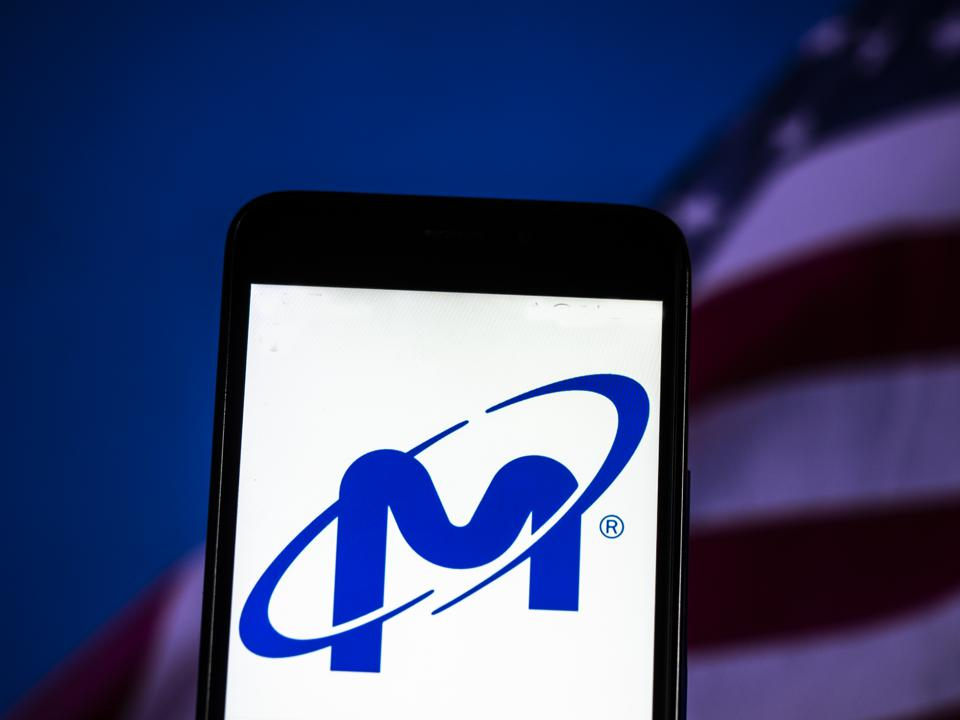 Micron Technology Corporation logo seen displayed on smart