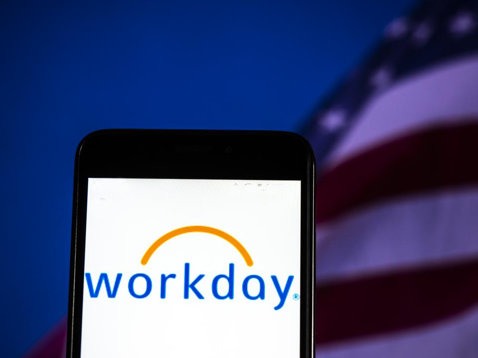 Workday, Inc. Software company logo seen displayed on smart