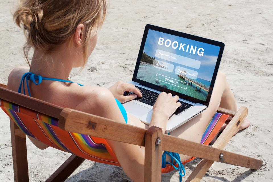 Travel booking concept, tourist buying tour online.