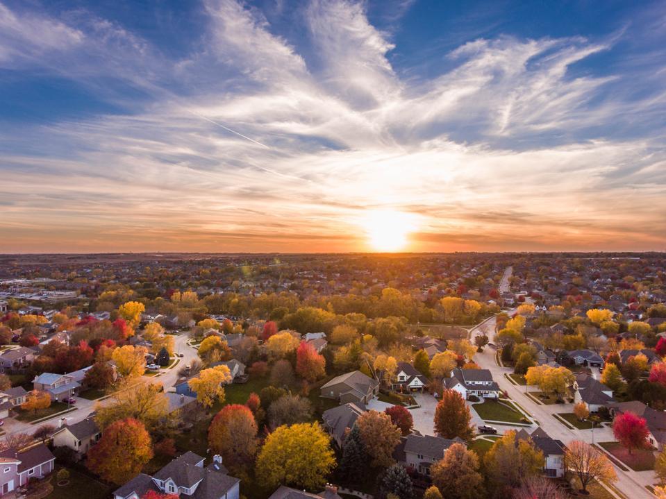 Fall sunset over the neighborhood