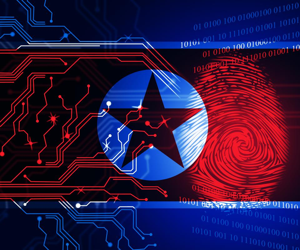 North Korea flag with fingerprint and silicon chip illustrations upon it