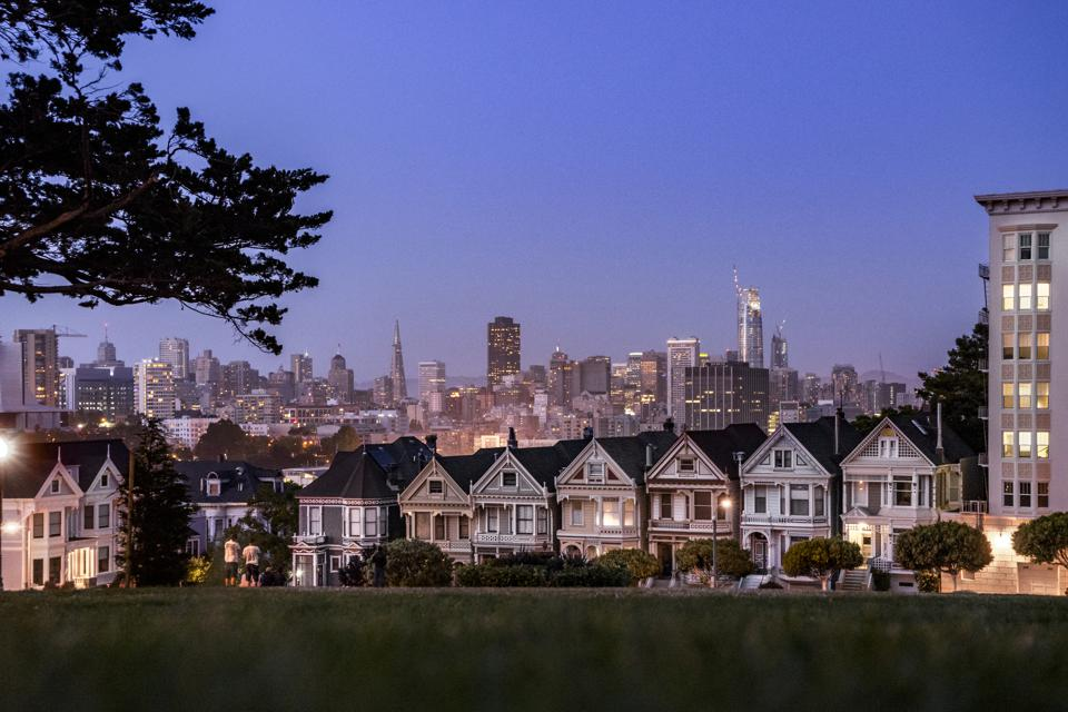 Painted Ladies, historical houses in San Francisco at sunset