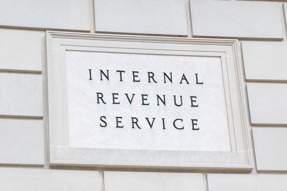 Internal Revenue Service sign in Washington, D.C...