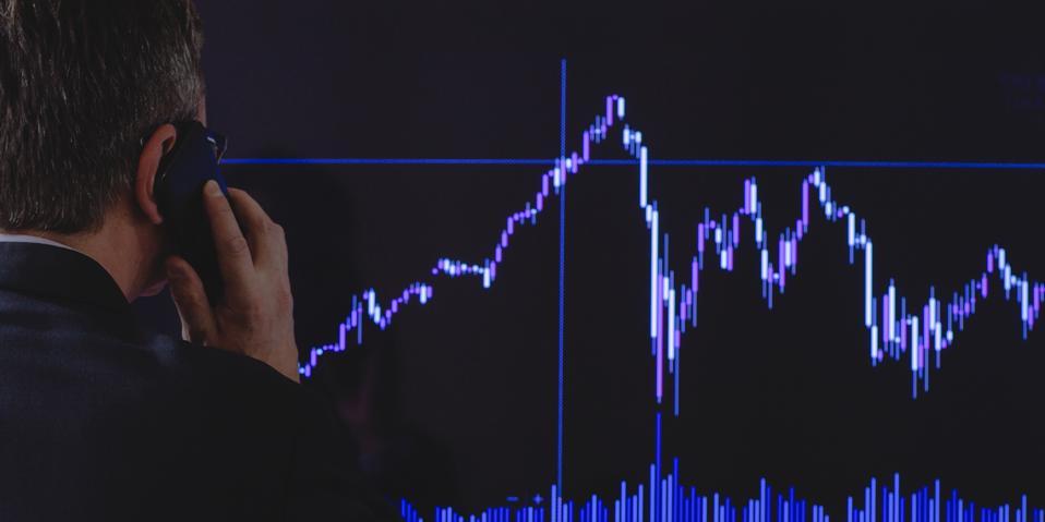 Investor looking at data