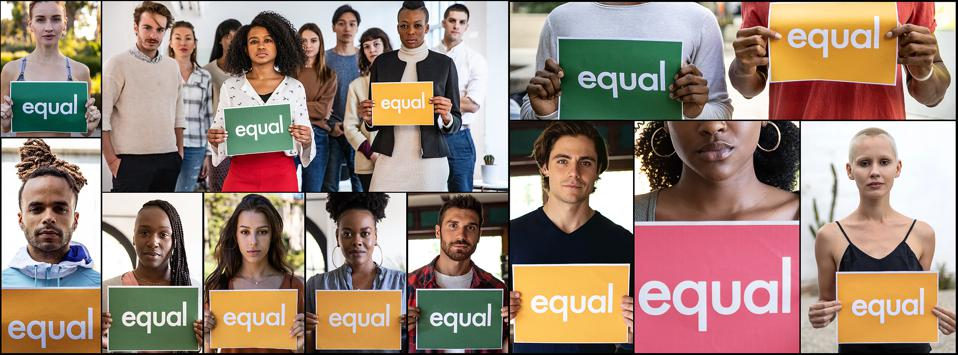 Group of different ethnicities people standing for equal rights and justice