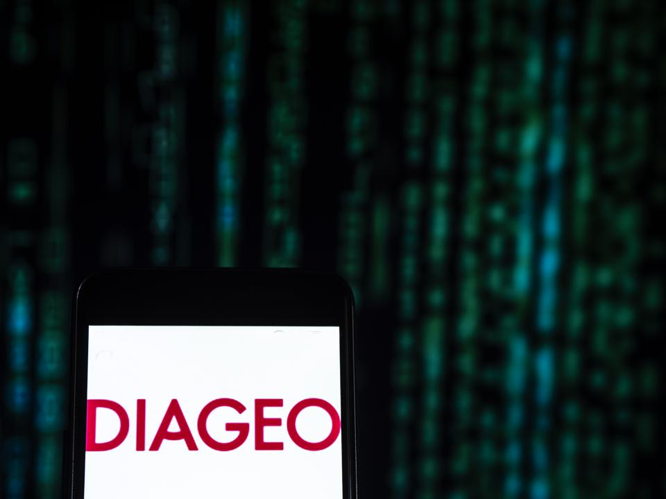 Diageo Beverage company logo seen displayed on a smart phone