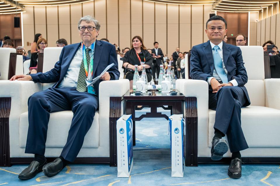 Bill Gates and Alibaba's Jack Ma at the China International Import Expo (CIIE) in Shanghai, China in November 2018.
