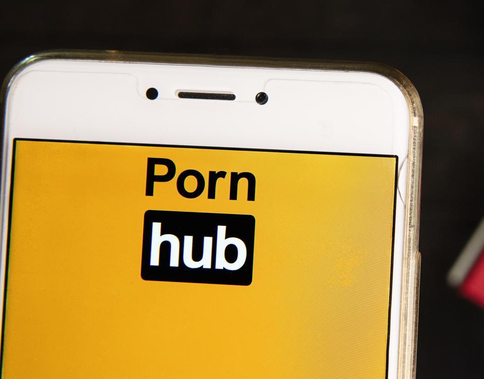 Pornographic video sharing website Pornhub logo is seen on