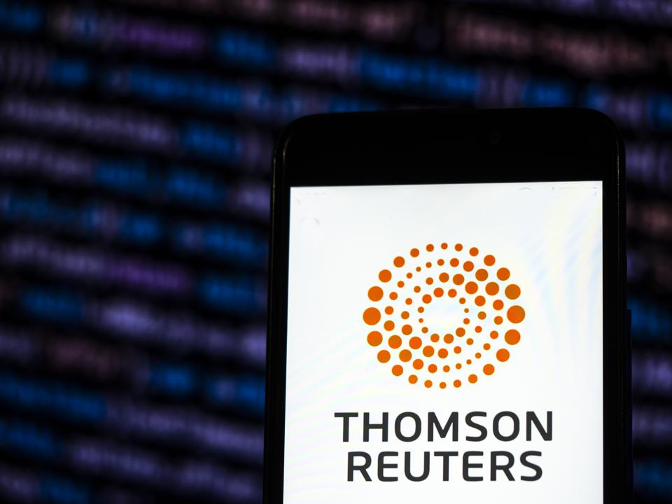 Thomson Reuters Corporation Mass media company logo seen