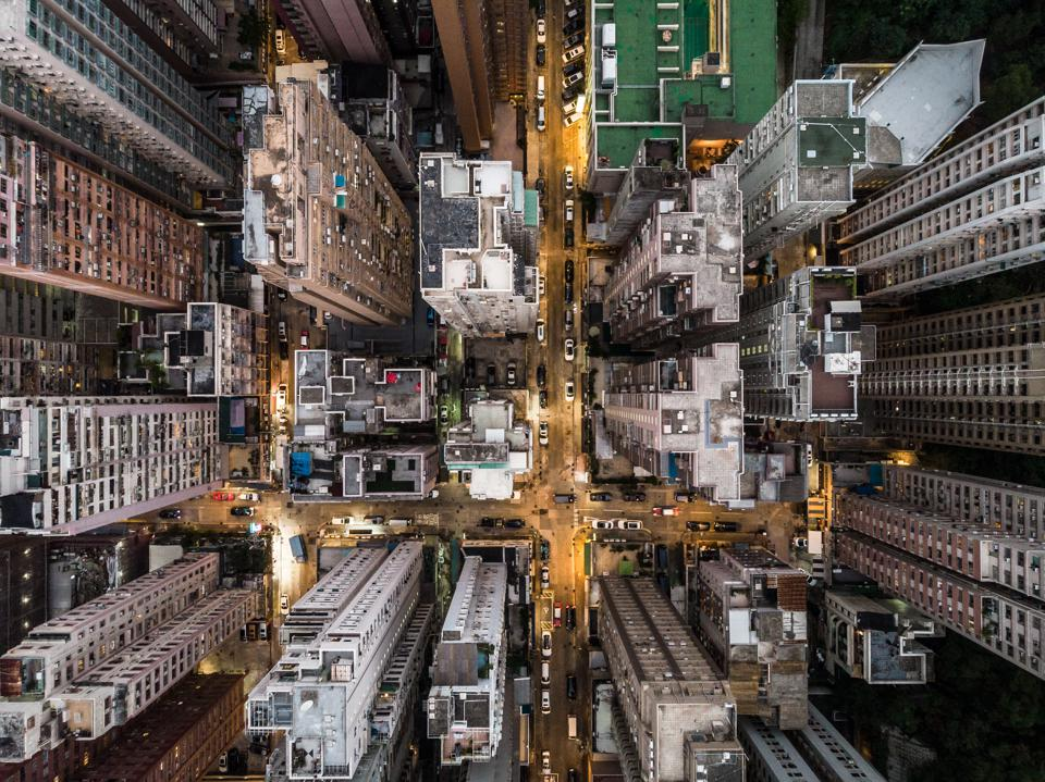 Straight down view of Hong Kong residential district