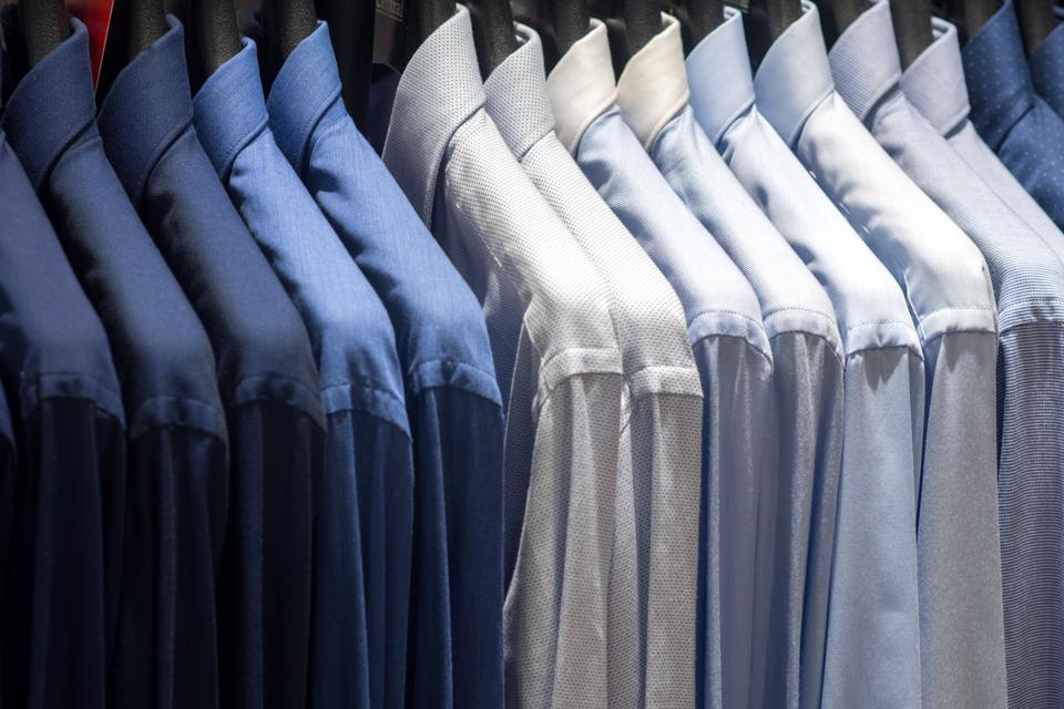men shirt in walk in closet