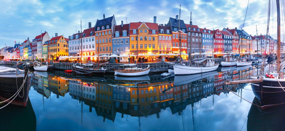 Panorama of Nyhavn in Copenhagen, Denmark.