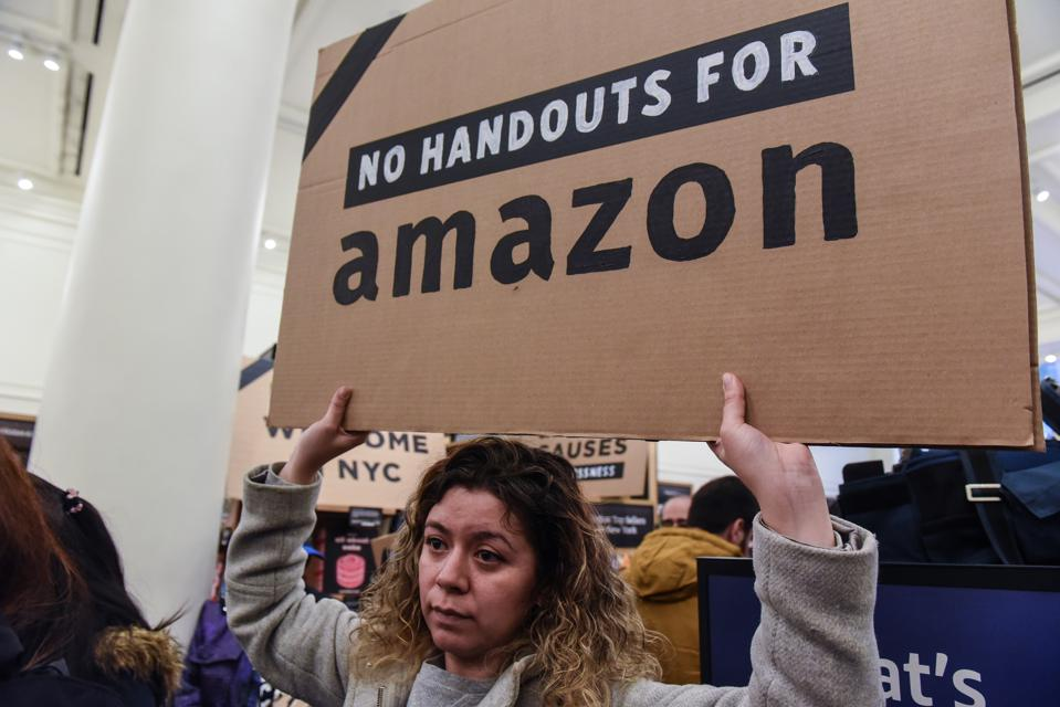 Protestors In New York City Hold ″Day Of Action″ Against Amazon HQ2