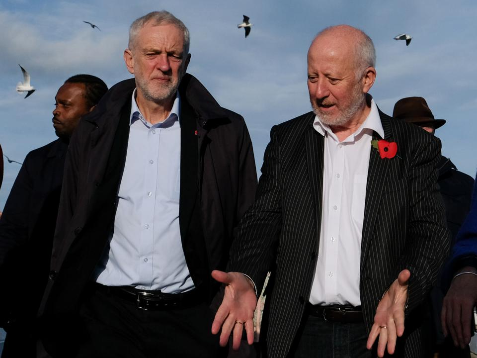 Labour leader Jeremy Corbyn with the Shadow Transport Secretary Andy McDonald.