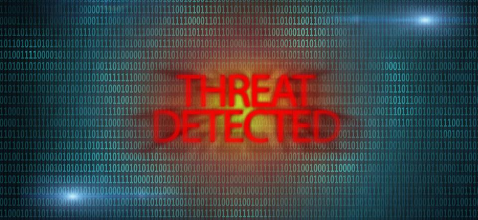 Threat detected sign. Virus attack. Computer spyware.