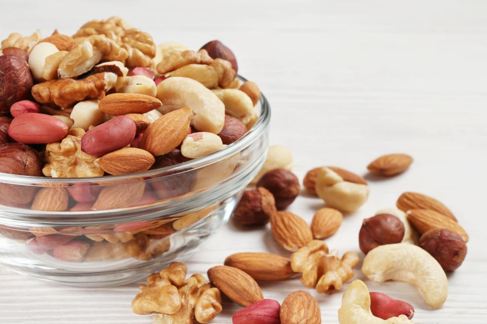 bowl with different mixed nuts